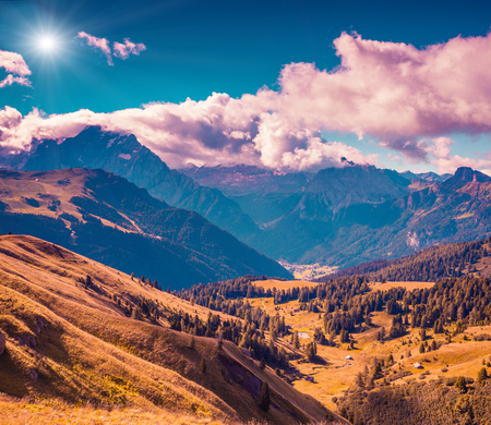 selva: Sunny autumn morning in Italy Alps. Views from the Sella pass. National Park Dolomites, South Tyrol. Location Ortisei, S. Cristina and Selva, Italy