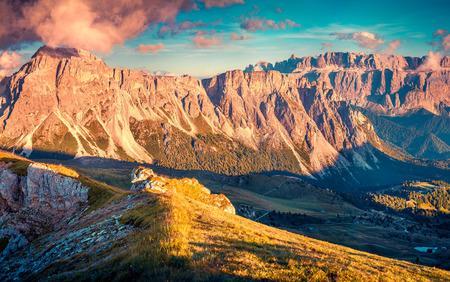 cir: Colorful autumn evening on Pizes de Cir ridge, valley Gardena. National Park Dolomites, South Tyrol, Italy Stock Photo