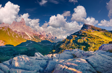 trentino: Panoramic views of the Pale di San Martino from Passo Rolle, Trentino - Dolomites, Italy Stock Photo