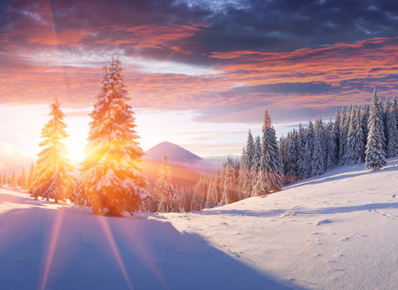 peace: Colorful winter sunrise in the mountains.