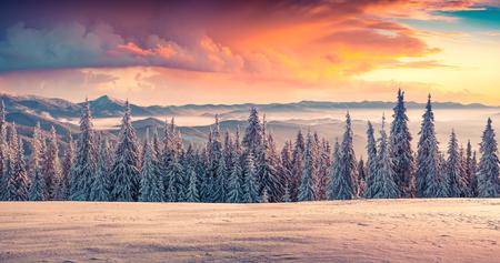 medioambiente: Colorido amanecer de invierno en las monta�as.