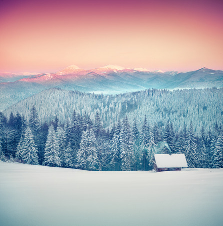 case colorate: Foresters hut covered with snow in the mountains at sunrise. Instagram toning.