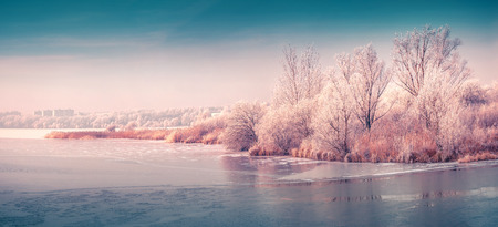 Panorama of the frozen pond in the city park. Instagram toning. 스톡 콘텐츠