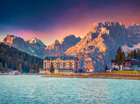 lake misurina: Colorful morning scene of the Lake Misurina, in Italy Alps, Tre Cime Di Lavaredo, Dolomites, Europe. Stock Photo