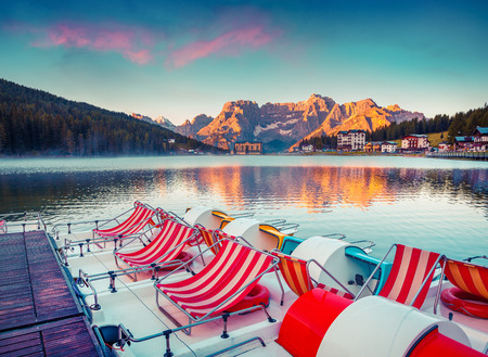lake misurina: Colorful summer scene on the Lake Misurina, in Italy Alps, Tre Cime Di Lavaredo, Dolomites, Europe. Instagram toning.