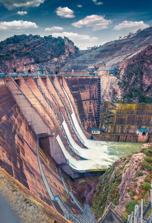 The dam on the lake Rosamarina. Sicily, Italy, Europe. Stock Photo