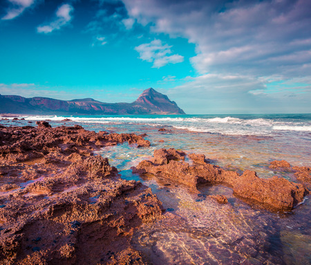 sicilia: Colorful spring morning on the nature reserve Monte Cofano. San Vito cape location, Mediterranean sea. Sicilia, Italy, Europe. Instagram toning. Stock Photo