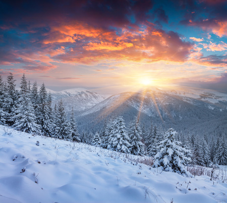 Colorful winter scene in the snowy mountain. Stock Photo