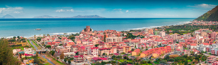 rea: Colorful view from birds eye of Brolo town, Messina. Mediterranean rea, Sicily, Italy, Europe.