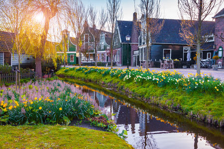 amazing stunning: View of typical Dutch village Zaanstad. Coloeful spring scene in Netherlands, country of tulips, windmill and thousands channels. Stock Photo