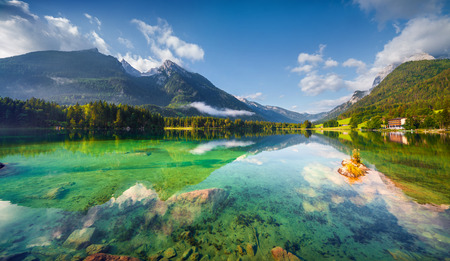Sunny summer morning on the Hintersee lake in Austrian Alps. Salzburg, Austria, Europe. Zdjęcie Seryjne
