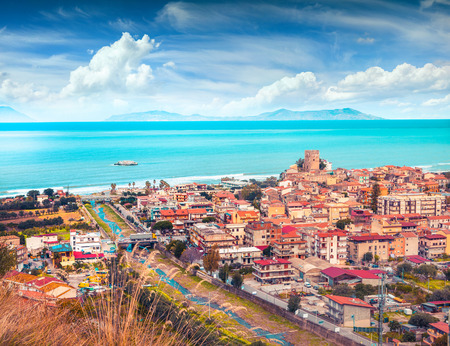 rea: Colorful spring view of Brolo town, Messina. Mediterranean rea, Sicily, Italy, Europe. Instagram toning.
