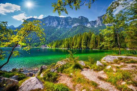 Sunny summer scene on the Hintersee lake in Austrian Alps. Salzburg, Austria, Europe. Stock Photo