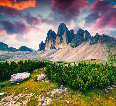 Fantastic colors sunrise in the National Park Tre Cime di Lavaredo. Dolomites, South Tyrol. Location Auronzo, Italy, Europe.