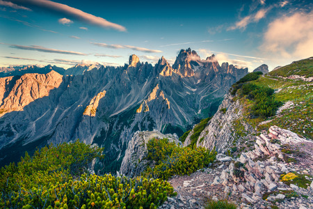 Colorful summer view of Gruppo del Cimonega mountain range in National Park Tre Cime di Lavaredo. Dolomites, South Tyrol. Location Auronzo, Italy, Europe. Stock Photo