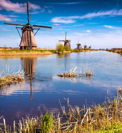 the hague: Sunny spring morning on the canal in Netherlands. Dutch windmills at Kinderdijk