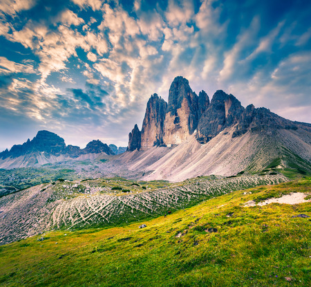 Fantastic colors landscape in the National Park Tre Cime di Lavaredo. Dolomites, South Tyrol. Location Auronzo, Italy, Europe. Stock Photo