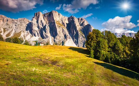 cir: Summer scene with Pizes de Cir mountain range. Colorful sunny landscape in Gardena  valley. Morning in Dolomite Alps, South Tyrol. Location Ortisei, S. Cristina and Selva Gardena, Italy, Europe. Stock Photo