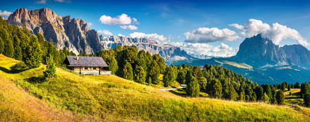 cir: Summer scene with Pizes de Cir mountain range. Colorful sunny panorama of Gardena valley. Morning in Dolomite Alps, South Tyrol. Location Ortisei, S. Cristina and Selva Gardena, Italy, Europe. Stock Photo