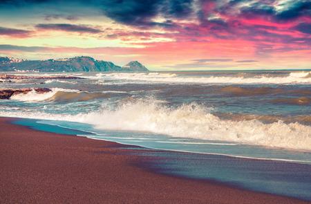mediteranean: Spring seascape on the Mediteranean beach, Tonnarella located . Sunrise in Sicily. Messina, Italy. Instagram toning.