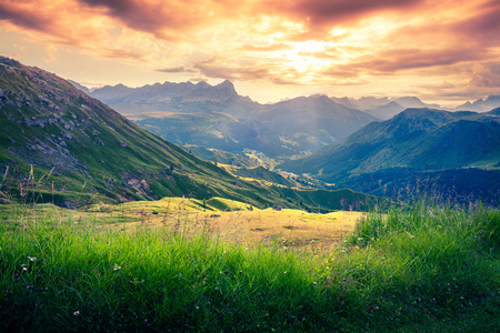 bolzano province: Dramatic sunrise in the dolomite Alps. Colorful summer view from Pordoi pass, Province of Bolzano - South Tyrol, Italy, Europe Stock Photo