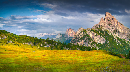 Fantastic summer scene of the Sass De Stria mountain range. View from Falzarego pass. Sunrise in Dolomite Alps, Italy, Europe.