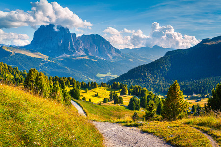 treck: Sunny summer scene in the valley Gardena with gorgeous view of Sassolungo (Langkofel) mountain range. Colorful motning Dolomite Alps, Location Ortisei, S. Cristina and Selva Gardena. South Tyrol. Italy, Europe. Stock Photo