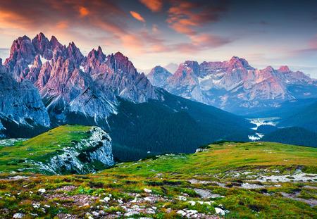 Colorful morning view of the Cadini di Misurina mountain range in National Park Tre Cime di Lavaredo. Sunrise in Dolomite Alps, South Tirol. Location Auronzo, Italy, Europe.