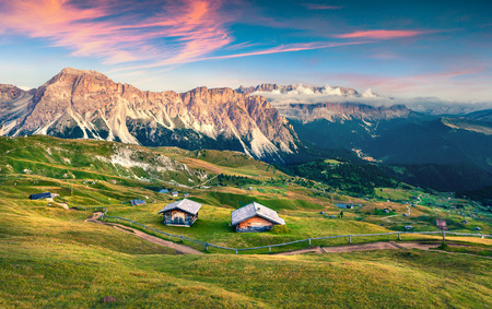 bolzano province: Evening scene in Gardena valley with Pizes de Cir mountain gange. Colorfu sunset in Dolomite Alps, Province Bolzano, South Tyrol, Location Ortisei, S. Cristina, Italy, Europe.