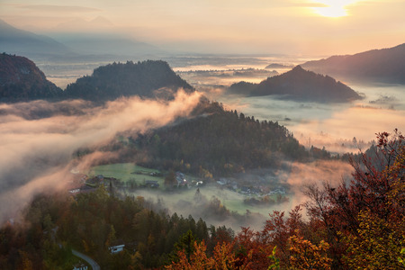 Aerial view of Slovenian resort town - Bled. Colorful sunrise in Julian Alps, Slovenia, Europe.