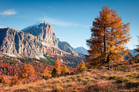 Splendid view  from top of Falzarego pass with Lagazuoi mountain. Colorful autumn morning in Dolomite Alps, Cortina dAmpezzo lacattion, Italy, Europe.