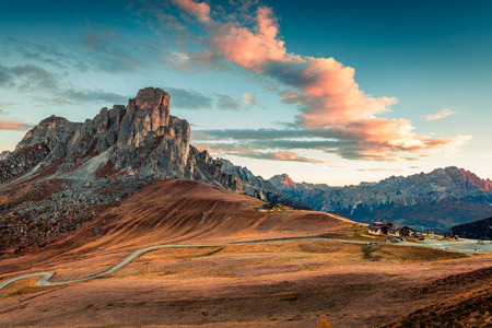 ra: Fantastic morning view from the top of Giau pass with famous Ra Gusela, Nuvolau peaks in background. Colorful autumn sunrise in Dolomite Alps, Cortina dAmpezzo location, Italy, Europe. Stock Photo