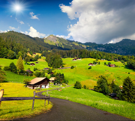 the bernese oberland: Colorful summer view of Wengen village. Beautiful outdoor scene in Swiss Alps, Bernese Oberland in the canton of Bern, Switzerland, Europe.