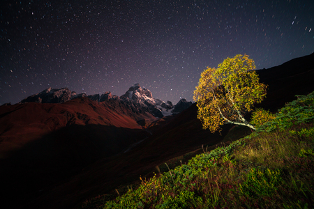 starry night: Night view of Ushba mountain with dark starry sky. Beautiful outdoor scene in the Caucasus mountains, Upper Svaneti, Europe.
