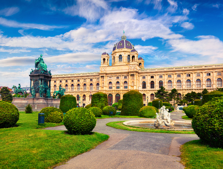 Splendid morning landscape in Maria Theresa Square with famous Naturhistorisches Museum (Natural History Museum). Beautiful outdoor scene in Vienna, Austria, Europe.Artistic style post processed photo