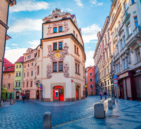Famous place (unesco heritage) - old center of Prague. Colorful spring morning in tne narrow Karlova street, capital of Czech Republic, Europe. Artistic style post processed photo. Stock Photo