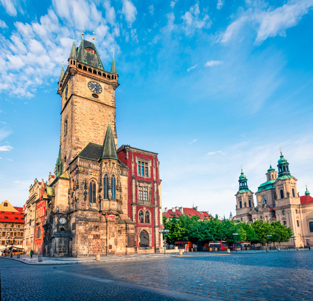 Picturesque view of Old Town square with Town Hall and St. Nicholas church. Colorful spring scene in Prague, Czech Republic, Europe. Artistic style post processed photo. 版權商用圖片