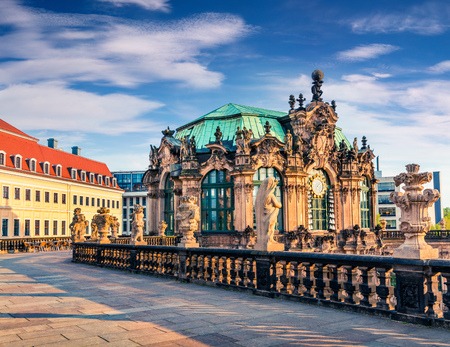 Morning view of famous Zwinger palace (Der Dresdner Zwinger) Art Gallery of Dresden. Colorful spring scene in Dresden, Saxony, Germany, Europe. Artistic style post processed photo.