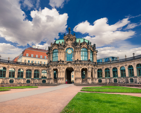 Morning in famous Zwinger palace (Der Dresdner Zwinger) Art Gallery of Dresden. Colorful spring scene in Dresden, Saxony, Germany, Europe. Artistic style post processed photo.