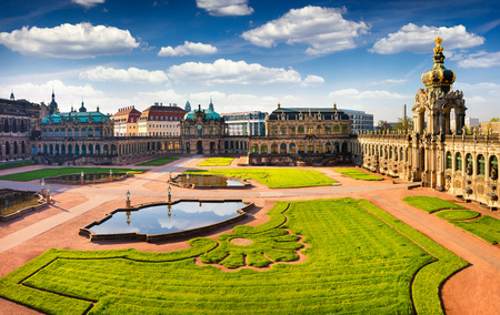 View from bierds eye of famous Zwinger palace (Der Dresdner Zwinger) Art Gallery of Dresden. Colorful spring scene in Dresden, Saxony, Germany, Europe. Artistic style post processed photo.