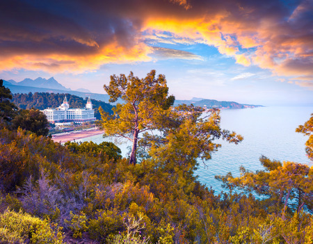 Picturesque Mediterranean seascape in Turkey. Colorful view of the Tekirova village, District of Kemer, Antalya Province. Instagram toning.