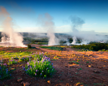 Erupting of the Great Geysir lies in Haukadalur valley on the slopes of Laugarfjall hill. Southwestern Iceland, Europe. Artistic style post processed photo.