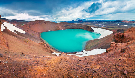 Colorful summer scene with crater pool of Krafla volcano. Dramatic morning view in the Northeast Iceland, Myvatn lake located, Europe. Artistic style post processed photo. Stock Photo