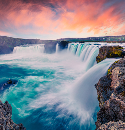 Summer morning scene on the Godafoss Waterfall. Dramatic sunset on the on Skjalfandafljot river, Iceland, Europe. Artistic style post processed photo. Stock Photo