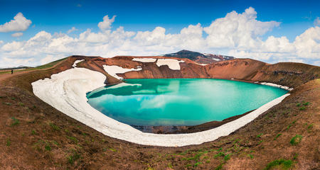 Colorful summer panorama of crater pool of Krafla volcano. Dramatic morning scene in the Northeast Iceland, Myvatn lake located, Europe. Artistic style post processed photo.