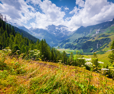 Summer morning view of Grossglockner mountain range from Grossglockner High Alpine Road. Piquresque outdoor scene in Austrian Alps, Zell am See district, state of Salzburg in Austria.