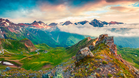 Great view from a birds eye of Grossglockner High Alpine Road. Colorful summer sunset in Austrian Alps, Zell am See district, state of Salzburg, Austria