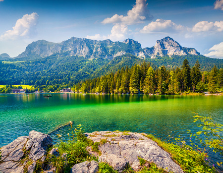 Beautiful summer morning on the Hintersee lake. Colorful outdoor scene in the Austrian Alps, Salzburg-Umgebung district, Austria