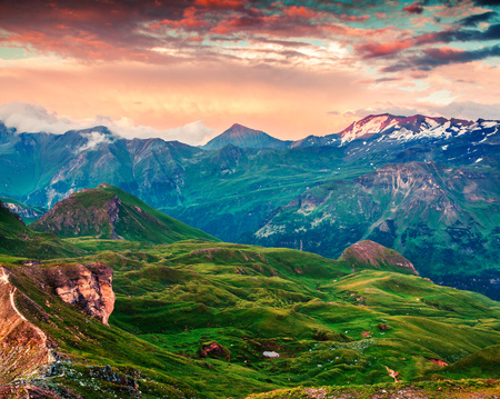 Summer morning view of Grossglockner mountain range from Grossglockner High Alpine Road. Dramatic  sunset in Austrian Alps, Zell am See district, state of Salzburg in Austria