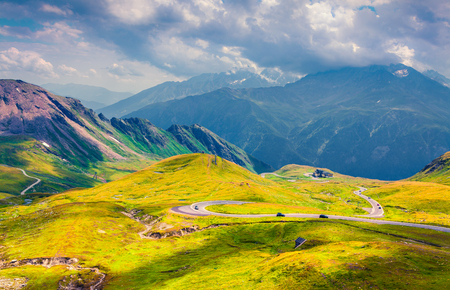 Summer morning view of Grossglockner mountain range from Grossglockner High Alpine Road. Sunny outdoor scene in Austrian Alps, Zell am See district, state of Salzburg in Austria